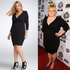 Torrid Rebel Wilson Edgy Black Surplice Dress